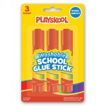 Playskool 3-pack Washable Round School Glue Sticks