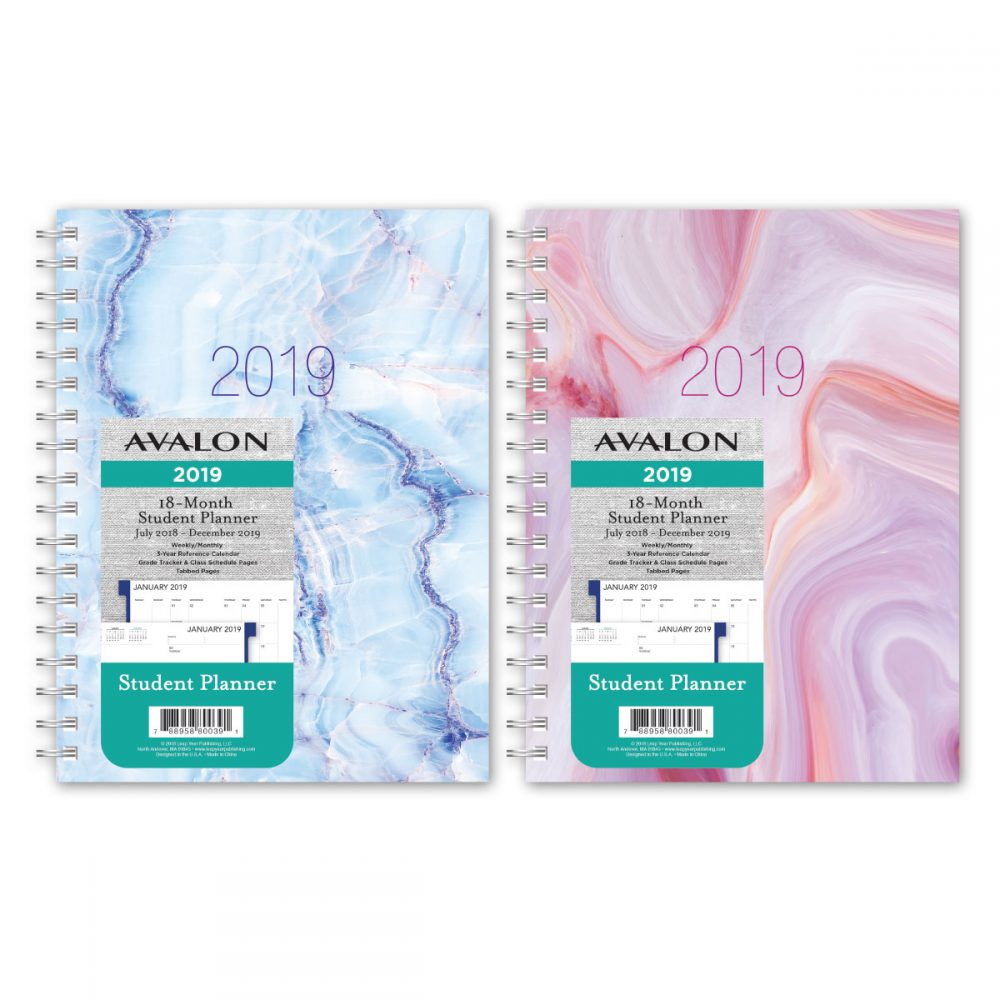 Avalon 18-month Weekly/monthly Student Planner - Marble