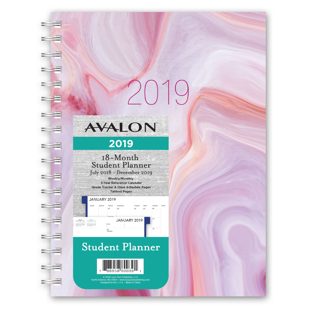 avalon 18 month weeklymonthly student planner marble