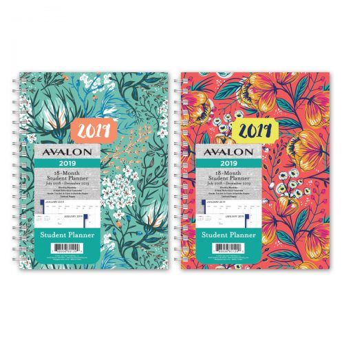 Avalon 18-month Weekly/monthly Student Planner - Florals