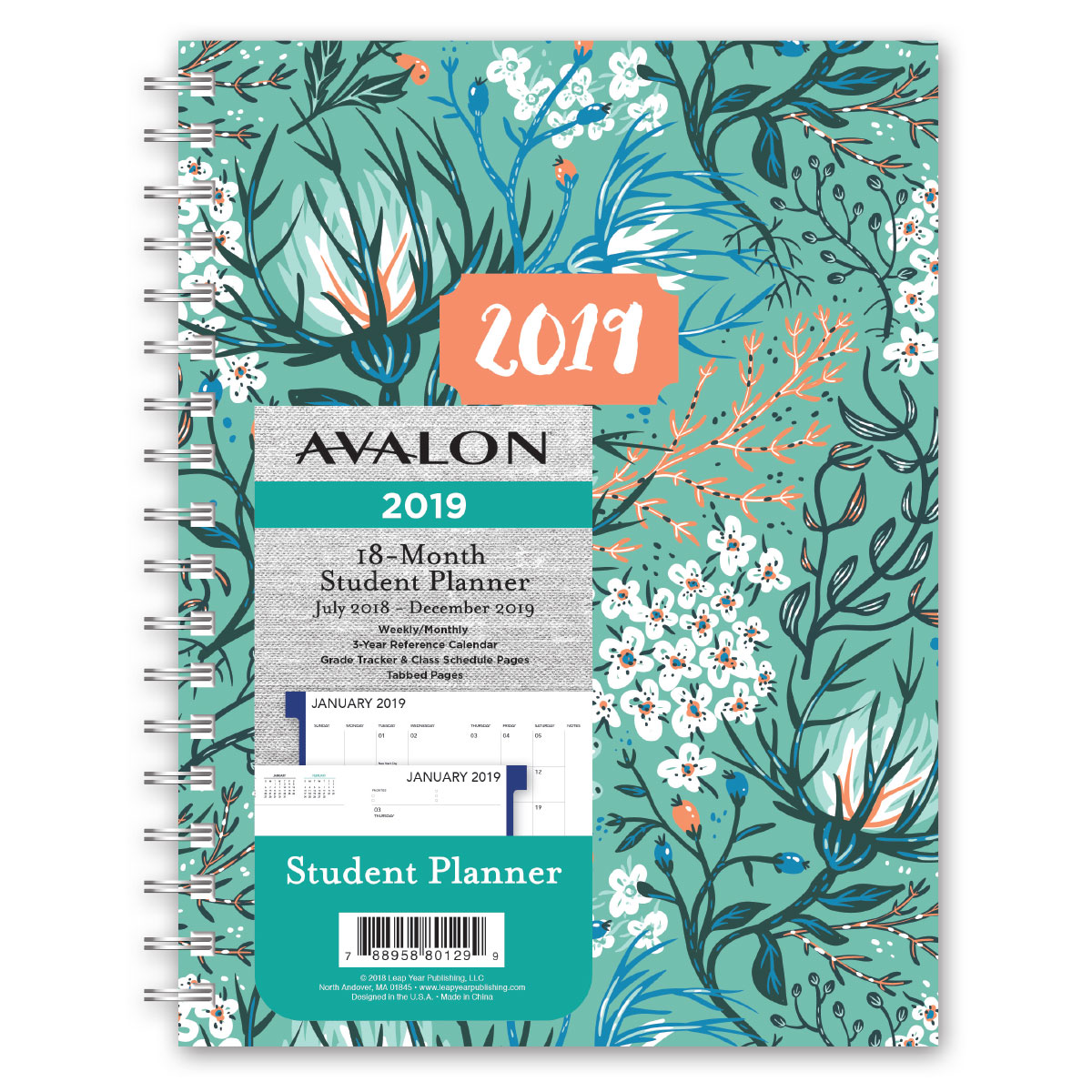 avalon 18 month weeklymonthly student planner florals