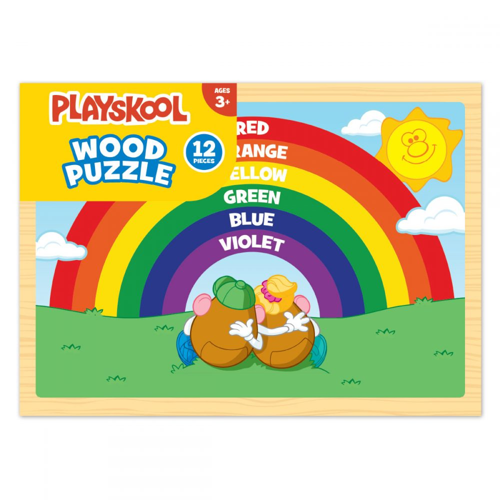 photo of a rainbow wooden children's puzzle