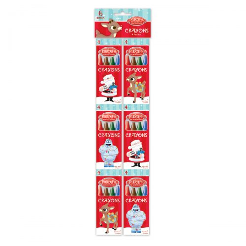 6 pack of 4-count Rudolph crayons