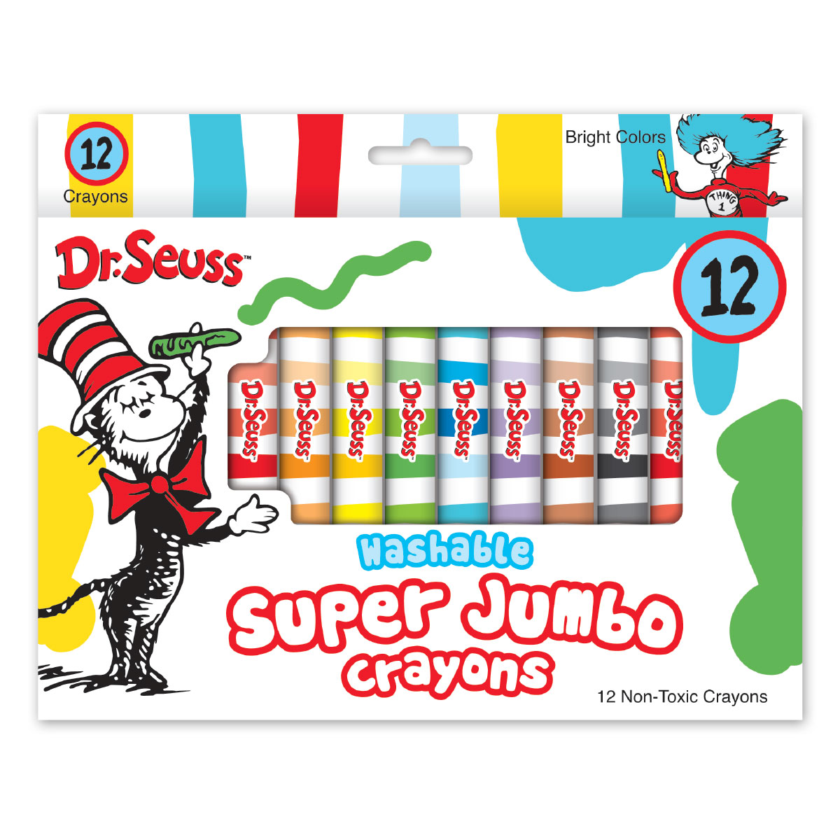6 Pack Dr 72 Crayons Total Assorted Colors Seuss 12-Count Washable Jumbo Crayons Great for Classrooms
