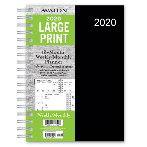 Avalon 2020 Large Print Planner - Black