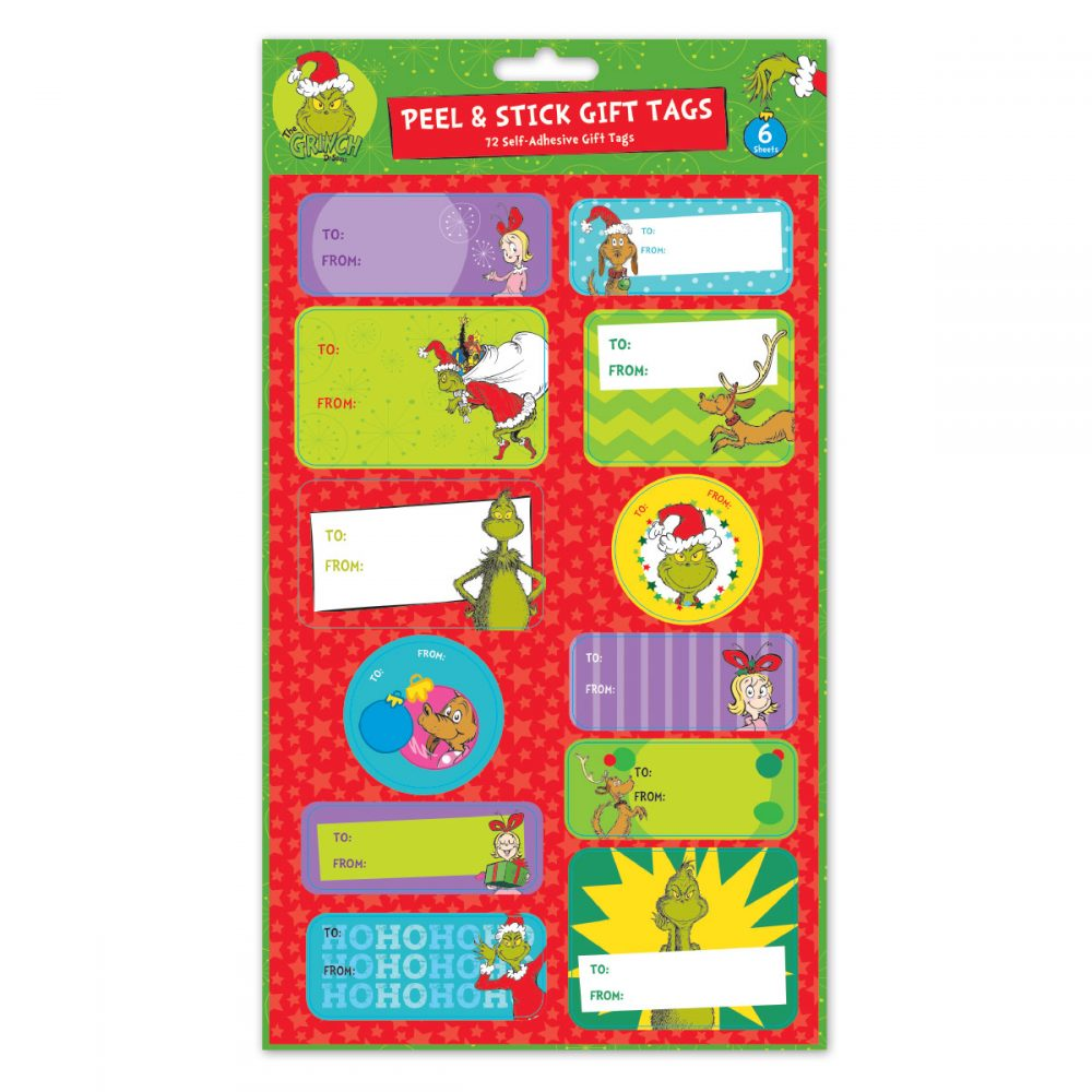 Grinch Peel & Stick Gift Tags 72 Count