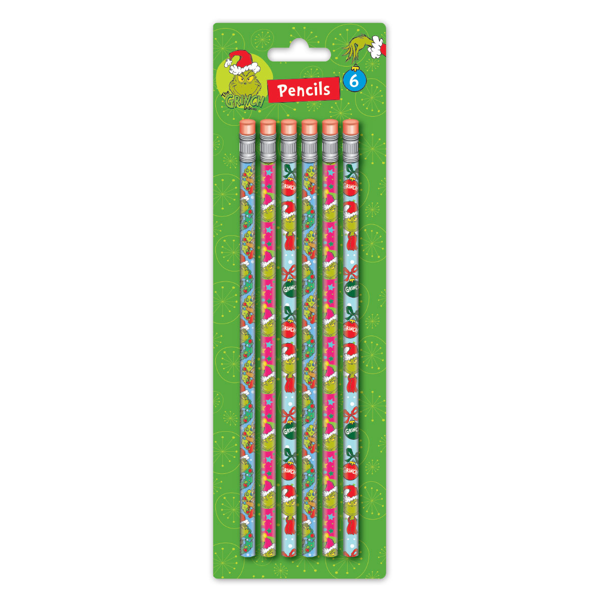 Grinch 6 Count Pencils