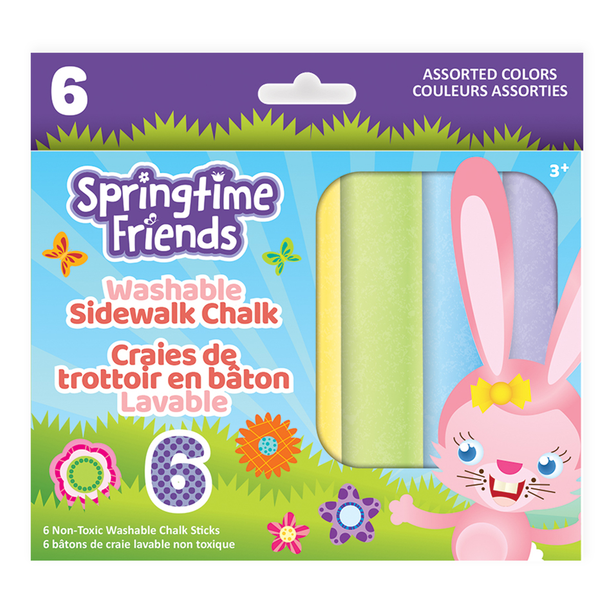 Springtime Friends 6-Count Washable Sidewalk Chalk